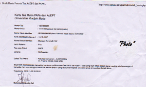 Contoh Kartu Ujian PAPS dan AcEPT, dibawa saat ujian. diprint setelah daftar online