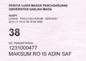 Nomer Meja ketika Ikut Ujian AcEPT yang Paket Pendaftraran S2, #ASK : Kok sempet2nya dibawa pulang.. haha